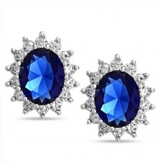 Bling Jewelry Kate Middleton Style Royal Sapphire Color CZ Earrings Sterling Silver