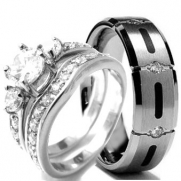 Wedding rings set His and Hers TITANIUM & STAINLESS STEEL Engagement Bridal Rings set (Size Men's 10 Women's 6)