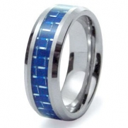 Tungsten Carbide Blue Carbon Fiber Inlay Wedding Band Ring 8mm Sz 9.5