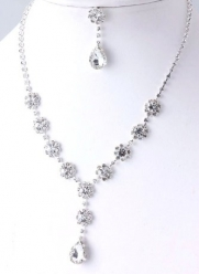Silver with Clear Crystal Rhinestones Flower and Teardrop Necklace and Earring Set Fashion Jewelry