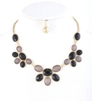 Gorgeous Gold with Black and Gray Jewel Necklace and Earring Set Fashion Jewelry