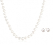 14k Yellow Gold Akoya Cultured Pearl 6.5-7mm Necklace and Stud Earring Set