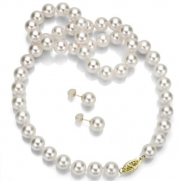 14k Yellow Gold 8-8.5mm White Japanese Salt Water Akoya Pearl High Luster Necklace 18 Length with Matching Earring Jewelry Set. Include a Jewelry Box.