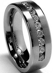 8 MM Men's Titanium ring wedding band with 9 large Channel Set CZ size 7