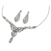 USABride Vintage Rhinestone Necklace & Earrings Jewelry Set 514