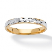 PalmBeach Jewelry 14k Yellow Gold-Plated Two-Tone Wedding Band