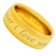 Tungsten Carbide Gold GP i Love you forever and ever Etch Men's Wedding Ring