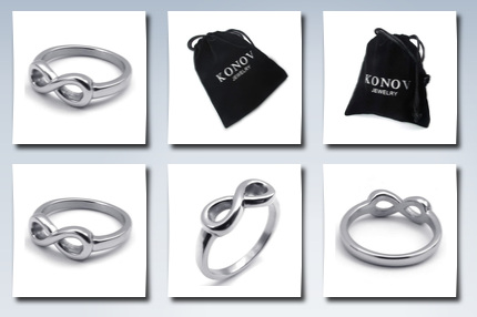KONOV jewelry polished infinity love sign womens ring, stainless steel wedding band, friends forever, color silver size 9 (with gift bag)